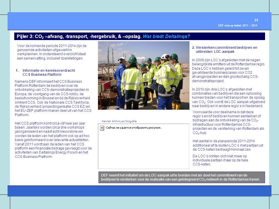 31 DEF visie op beleid 2011 – 2014. Pijler 3: CO2 –afvang, -transport, -hergebruik, & –opslag. Wat biedt Deltalinqs
