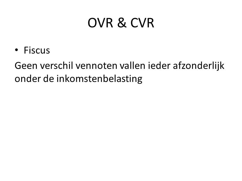 OVR & CVR Fiscus Geen verschil vennoten vallen ieder afzonderlijk onder de inkomstenbelasting