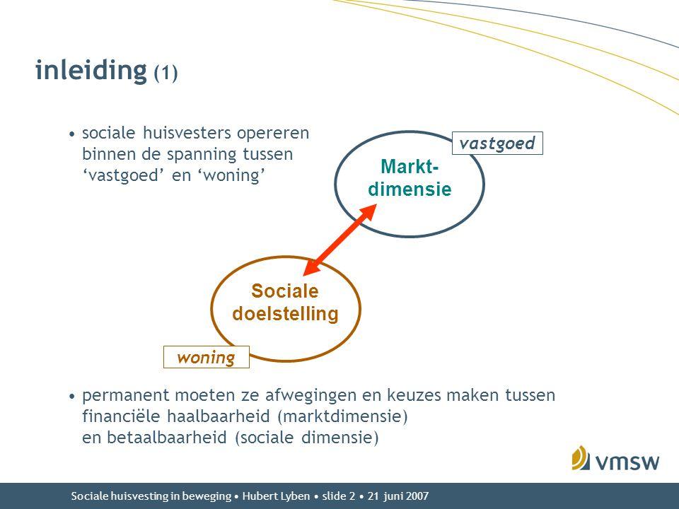 inleiding (1) Markt-dimensie Sociale doelstelling