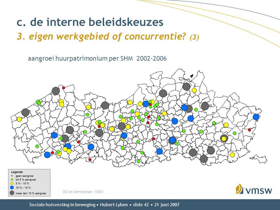 c. de interne beleidskeuzes 3. eigen werkgebied of concurrentie (3)