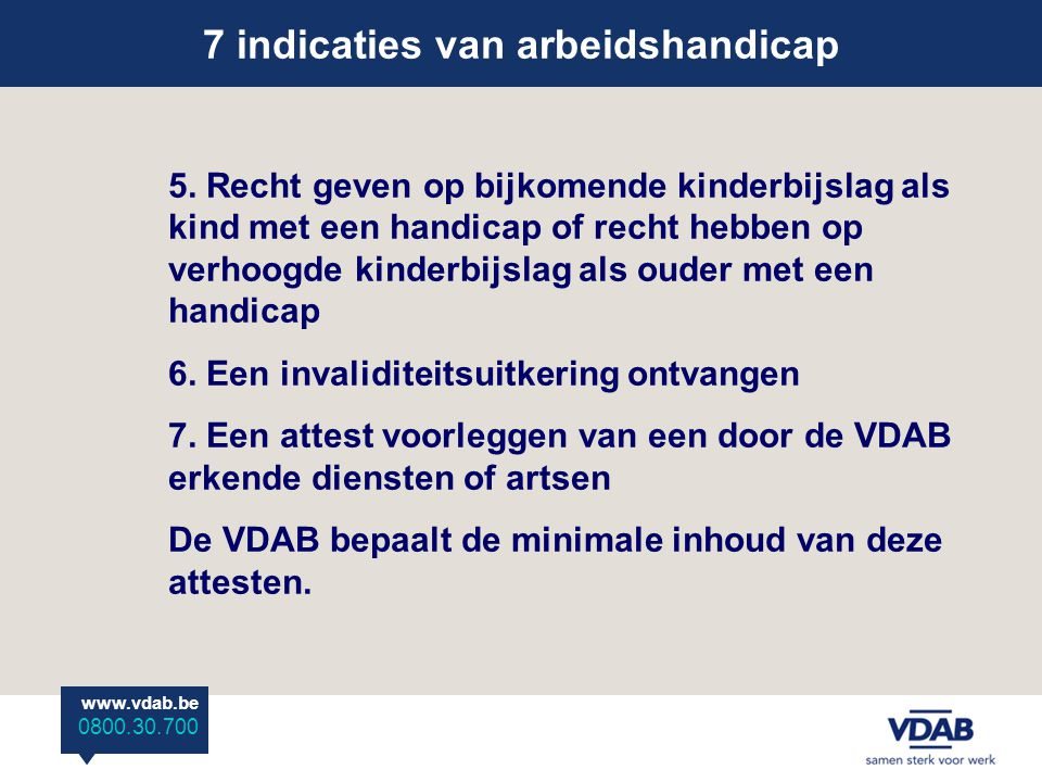 7 indicaties van arbeidshandicap