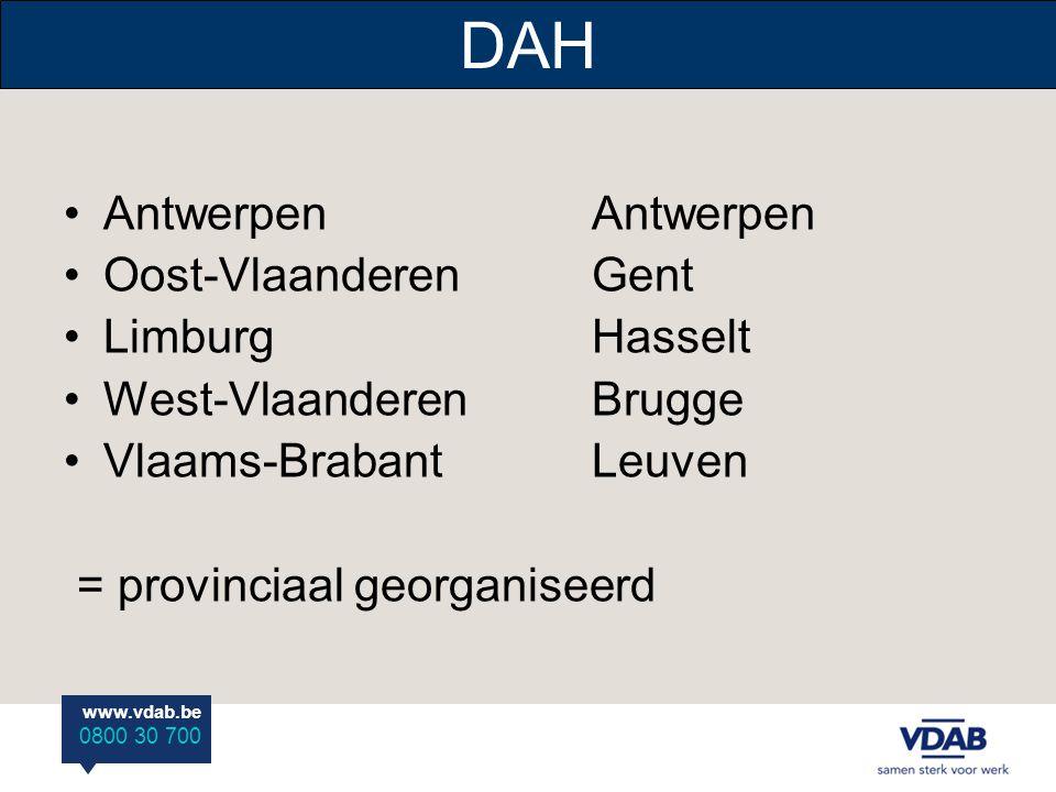 DAH Antwerpen Antwerpen Oost-Vlaanderen Gent Limburg Hasselt