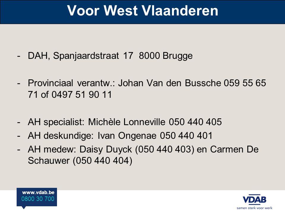 Voor West Vlaanderen DAH, Spanjaardstraat 17 8000 Brugge