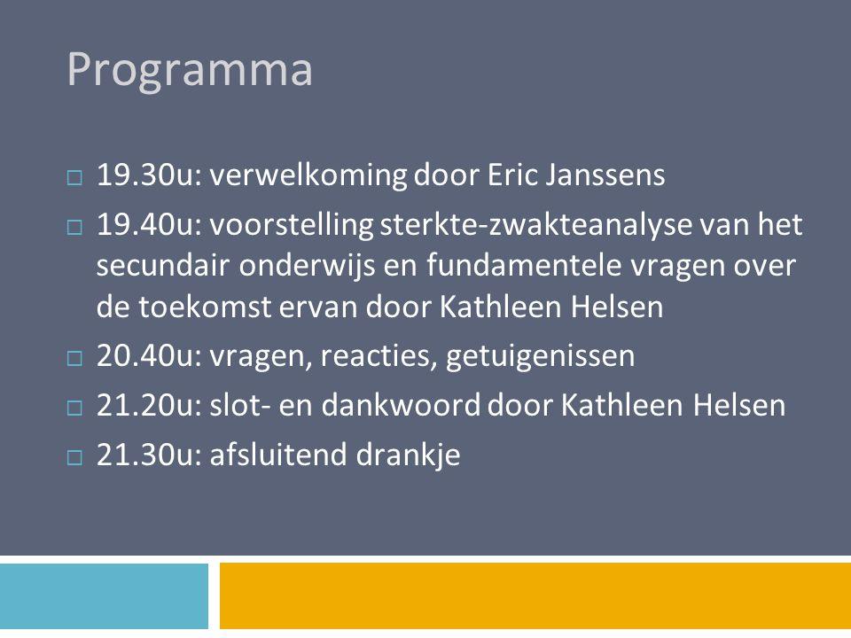 Programma 19.30u: verwelkoming door Eric Janssens