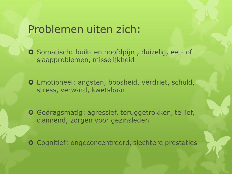 Problemen uiten zich: Somatisch: buik- en hoofdpijn , duizelig, eet- of slaapproblemen, misselijkheid.