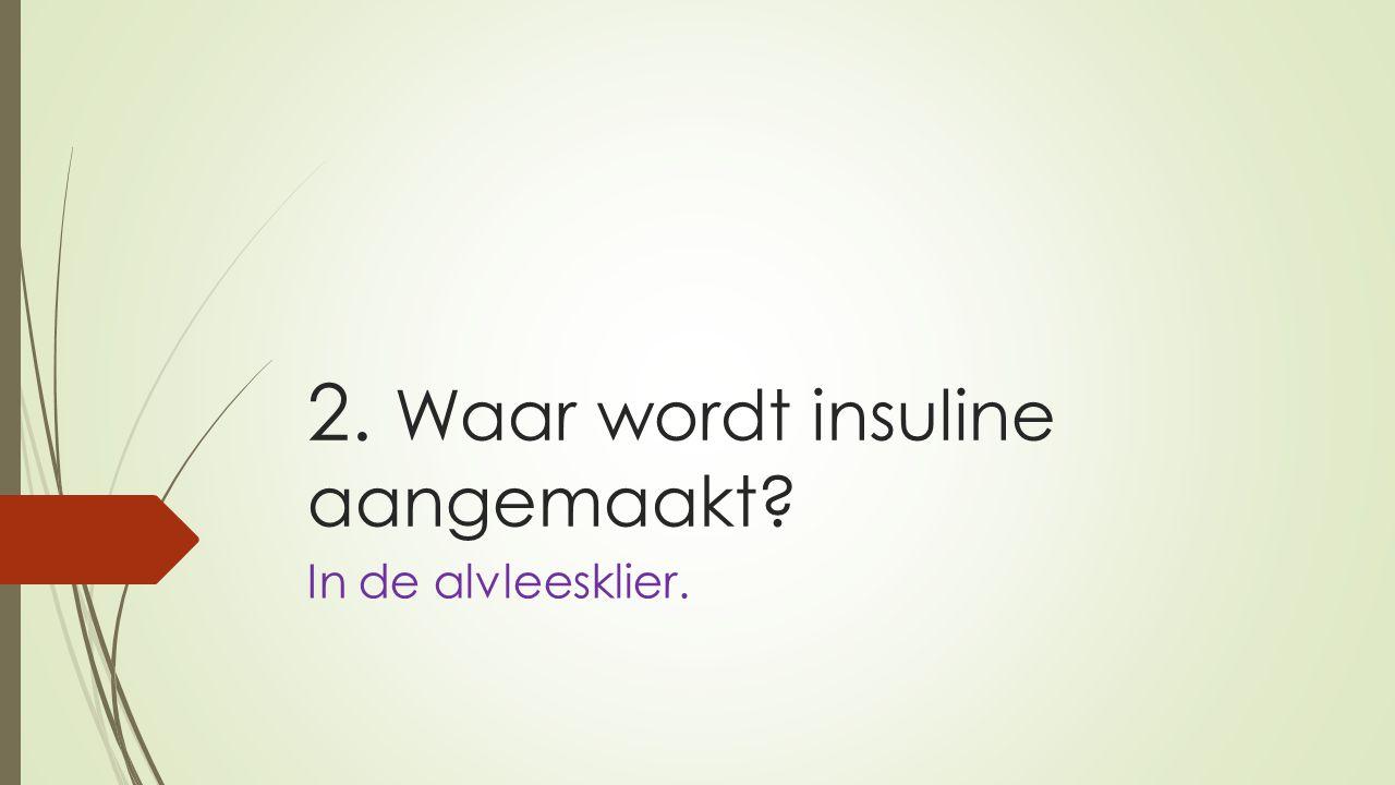 2. Waar wordt insuline aangemaakt