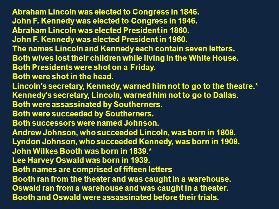 Abraham Lincoln was elected to Congress in 1846. John F