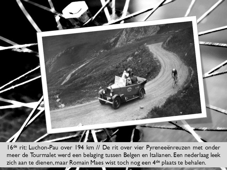 16de rit: Luchon-Pau over 194 km // De rit over vier Pyreneeënreuzen met onder meer de Tourmalet werd een belaging tussen Belgen en Italianen.