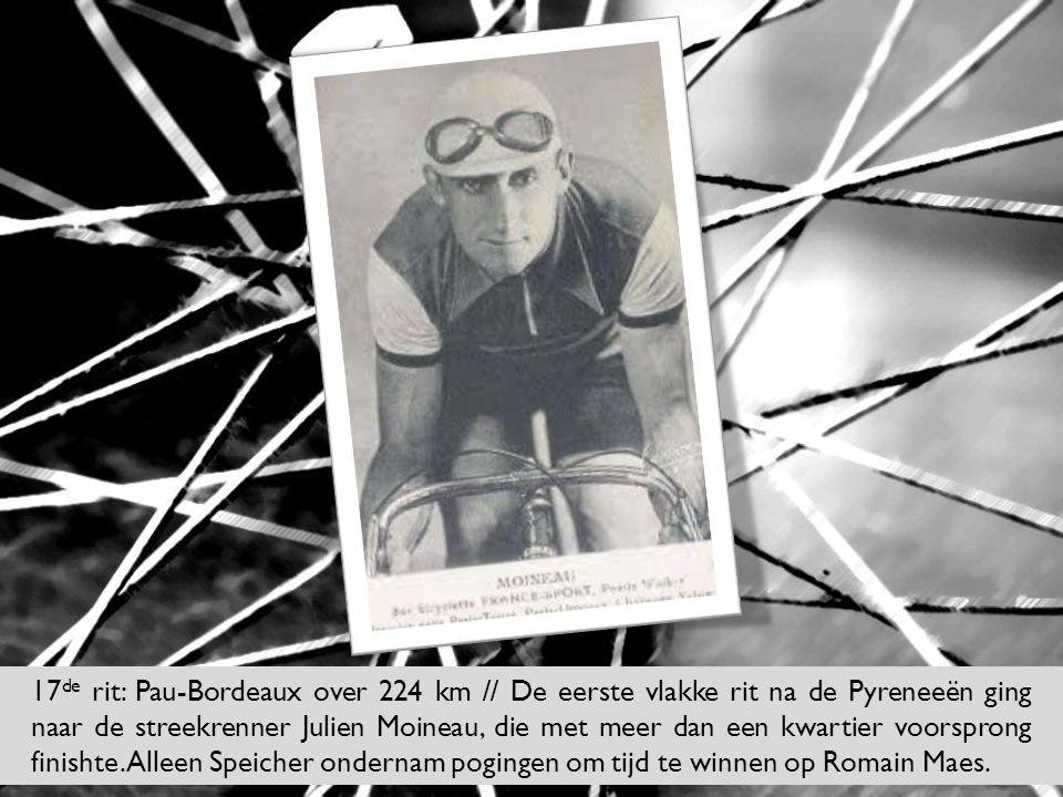 17de rit: Pau-Bordeaux over 224 km // De eerste vlakke rit na de Pyreneeën ging naar de streekrenner Julien Moineau, die met meer dan een kwartier voorsprong finishte.