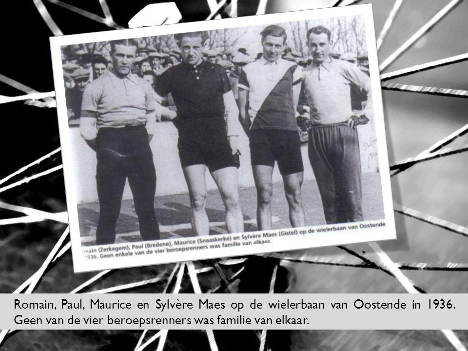 Romain, Paul, Maurice en Sylvère Maes op de wielerbaan van Oostende in 1936.