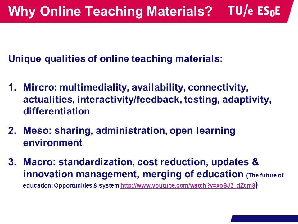 Why Online Teaching Materials