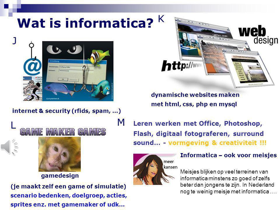K dynamische websites maken. met html, css, php en mysql. Wat is informatica J. internet & security (rfids, spam, …)