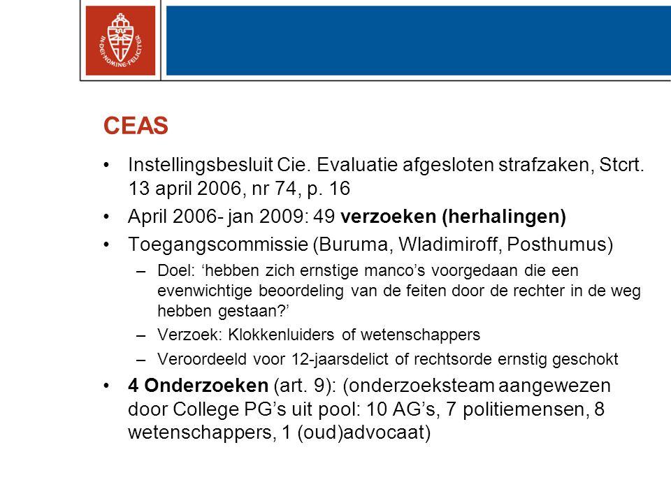 CEAS Instellingsbesluit Cie. Evaluatie afgesloten strafzaken, Stcrt. 13 april 2006, nr 74, p. 16. April 2006- jan 2009: 49 verzoeken (herhalingen)