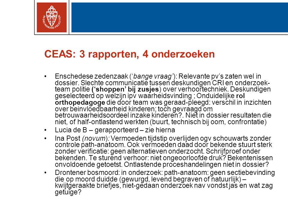 CEAS: 3 rapporten, 4 onderzoeken