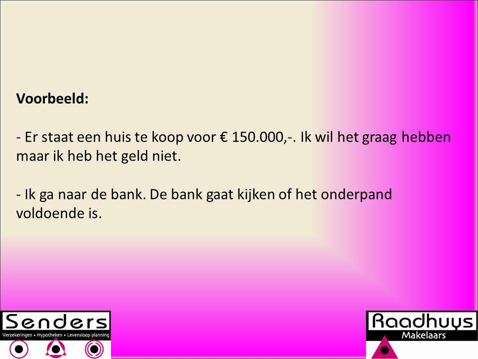 Voorbeeld: Er staat een huis te koop voor € 150.000,-. Ik wil het graag hebben maar ik heb het geld niet.