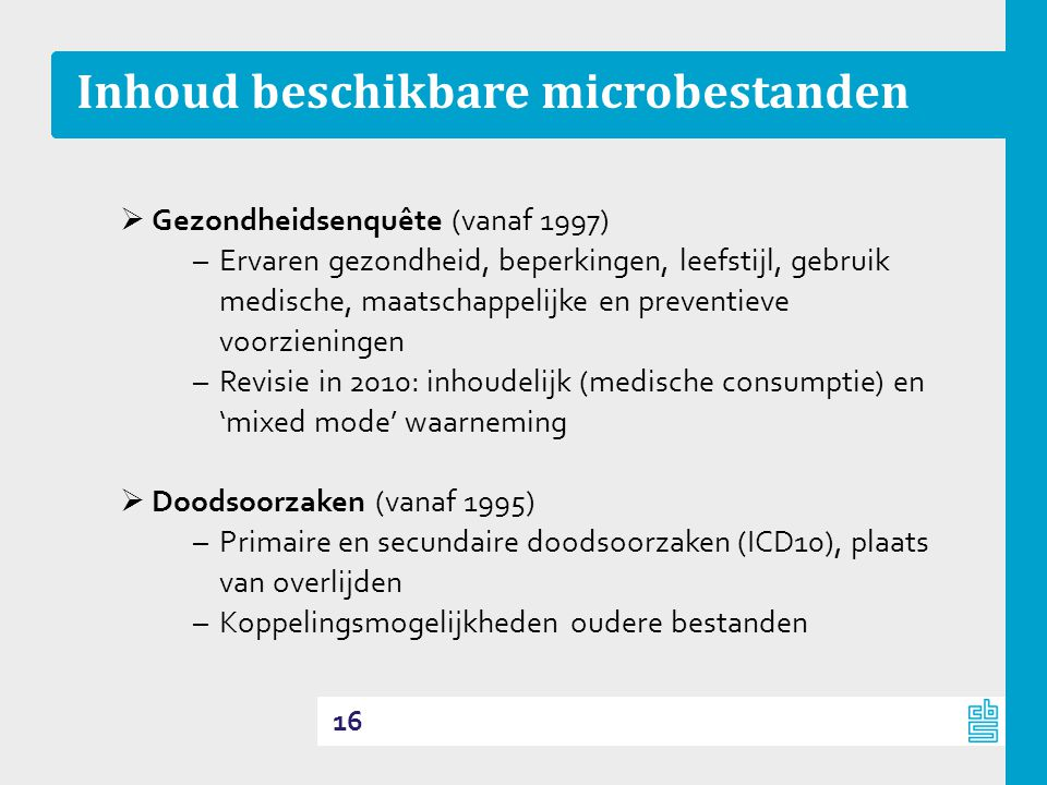 Inhoud beschikbare microbestanden