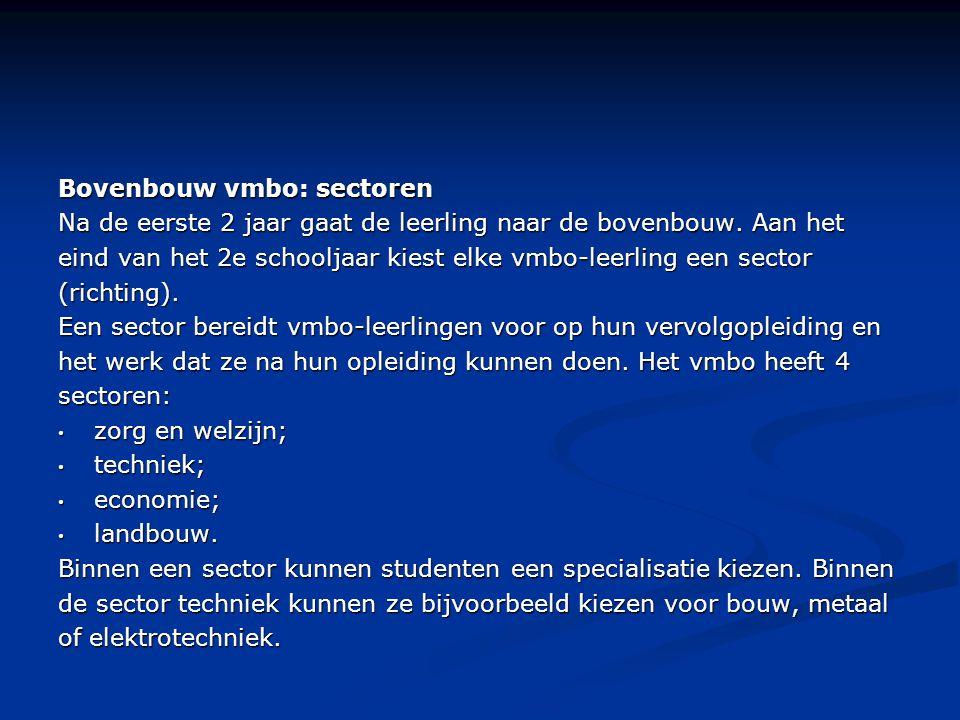 Bovenbouw vmbo: sectoren