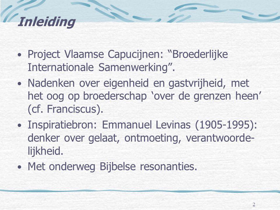 Inleiding Project Vlaamse Capucijnen: Broederlijke Internationale Samenwerking .