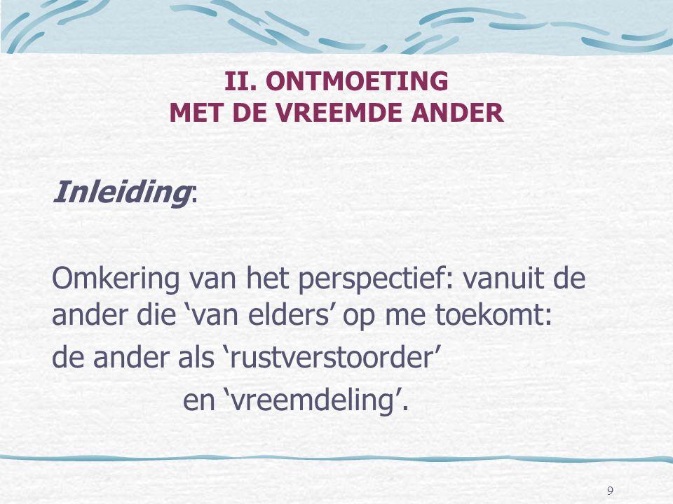 II. ONTMOETING MET DE VREEMDE ANDER