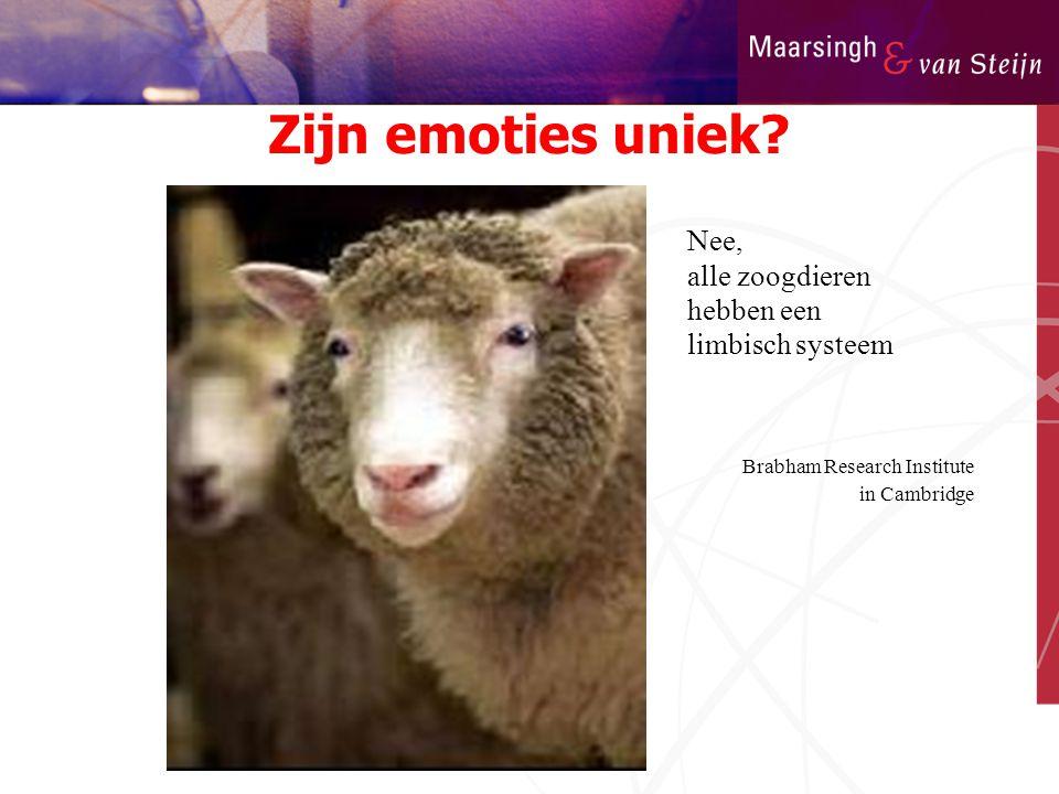 Zijn emoties uniek Nee, alle zoogdieren hebben een limbisch systeem