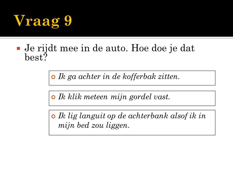 Vraag 9 Je rijdt mee in de auto. Hoe doe je dat best