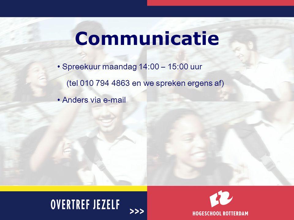 Communicatie Spreekuur maandag 14:00 – 15:00 uur