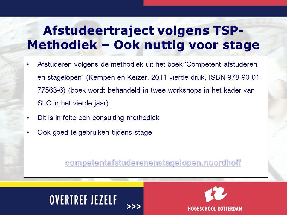 Afstudeertraject volgens TSP-Methodiek – Ook nuttig voor stage
