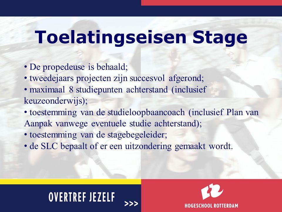 Toelatingseisen Stage