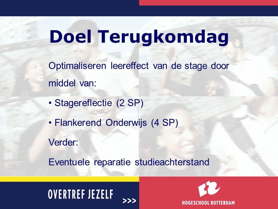 Doel Terugkomdag Optimaliseren leereffect van de stage door middel van: Stagereflectie (2 SP) Flankerend Onderwijs (4 SP)