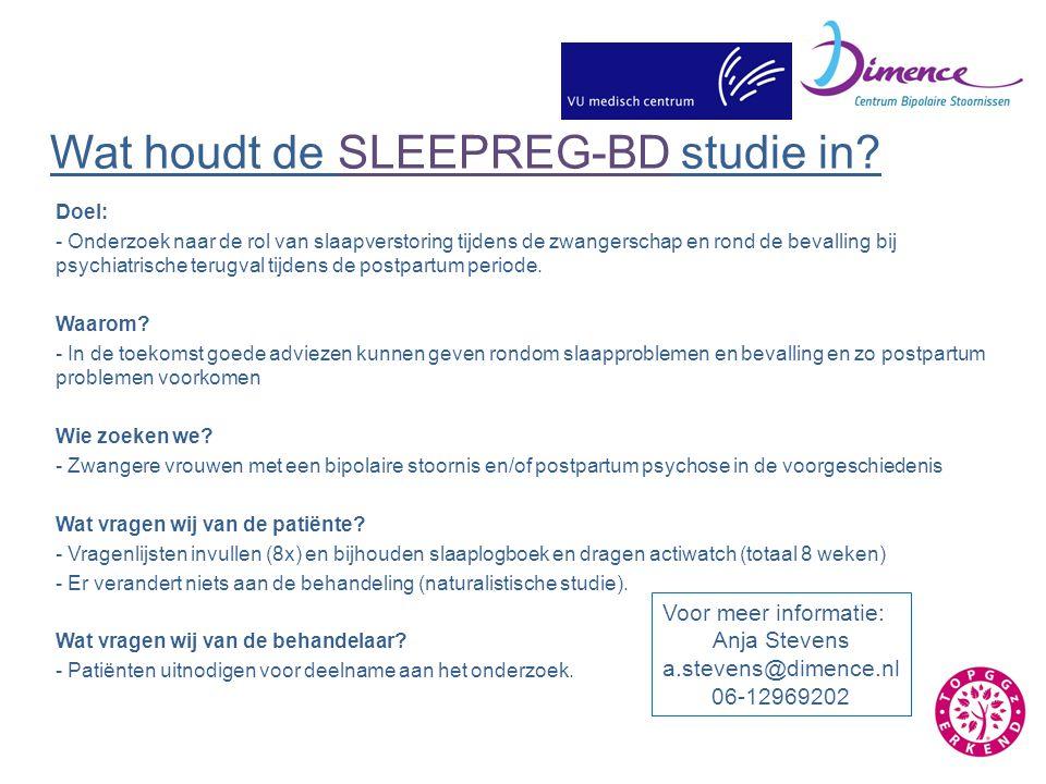 Wat houdt de SLEEPREG-BD studie in