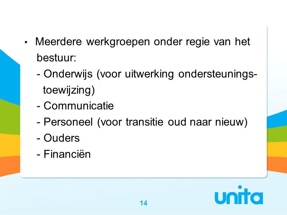 Meerdere werkgroepen onder regie van het bestuur: