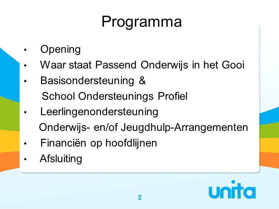 Programma Opening Waar staat Passend Onderwijs in het Gooi