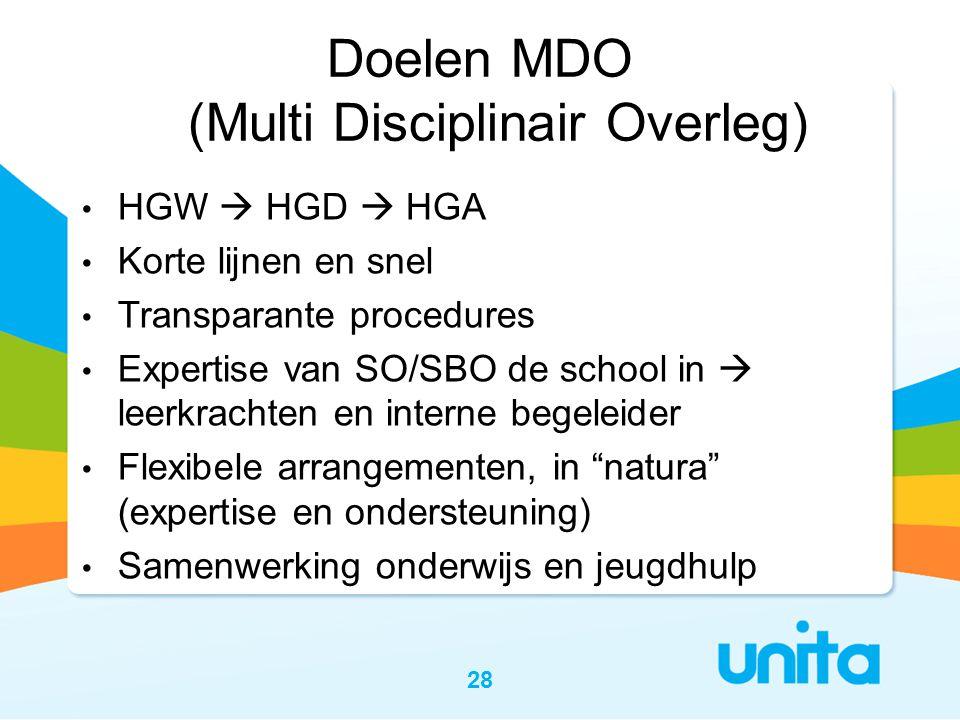 Doelen MDO (Multi Disciplinair Overleg)