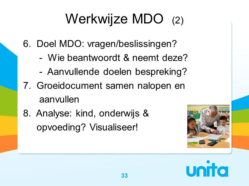Werkwijze MDO (2) 6. Doel MDO: vragen/beslissingen