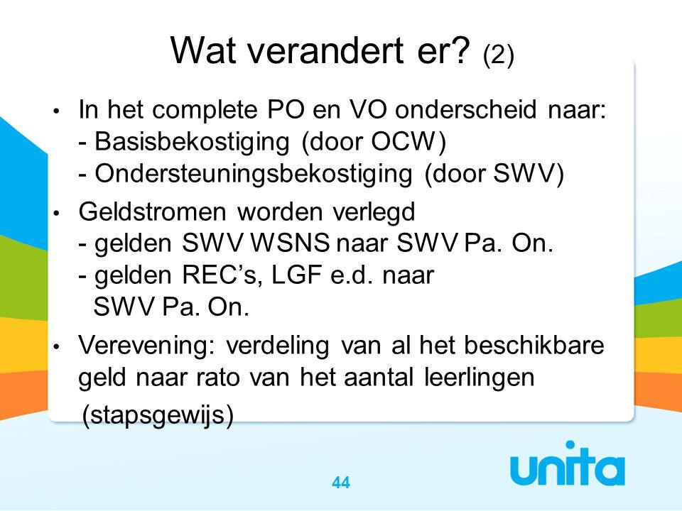 Wat verandert er (2) In het complete PO en VO onderscheid naar: - Basisbekostiging (door OCW) - Ondersteuningsbekostiging (door SWV)