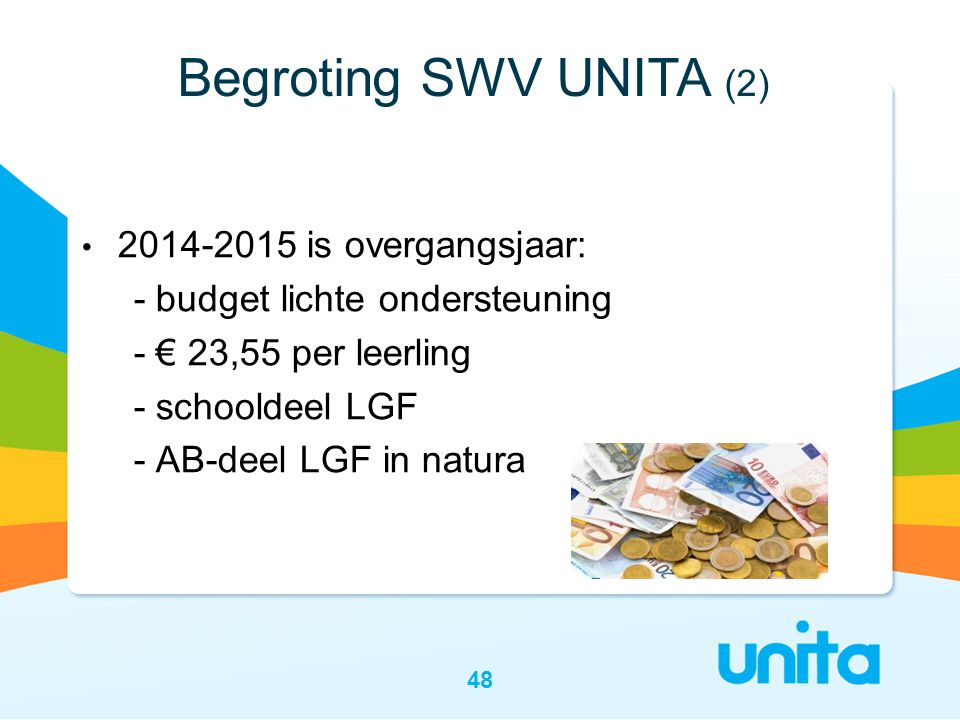 Begroting SWV UNITA (2) 2014-2015 is overgangsjaar: