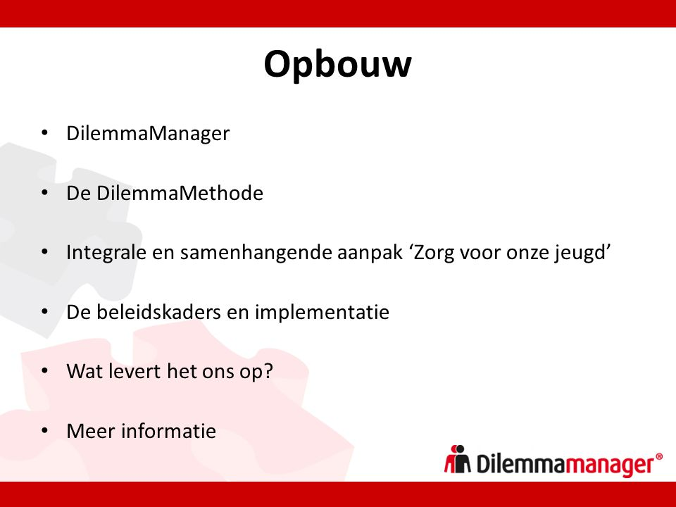 Opbouw DilemmaManager De DilemmaMethode