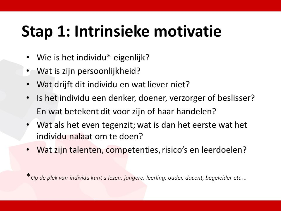Stap 1: Intrinsieke motivatie