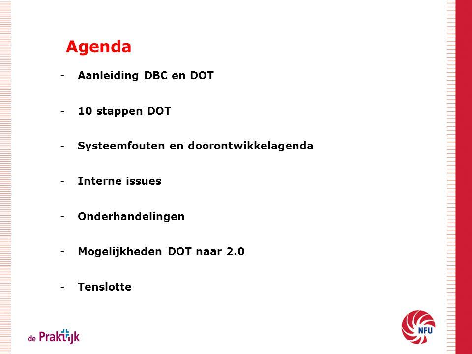 Agenda Aanleiding DBC en DOT. 10 stappen DOT. Systeemfouten en doorontwikkelagenda. Interne issues.