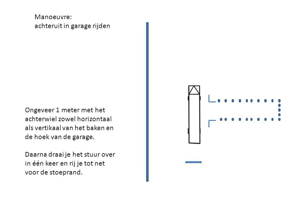 Manoeuvre: achteruit in garage rijden. Ongeveer 1 meter met het achterwiel zowel horizontaal als vertikaal van het baken en de hoek van de garage.