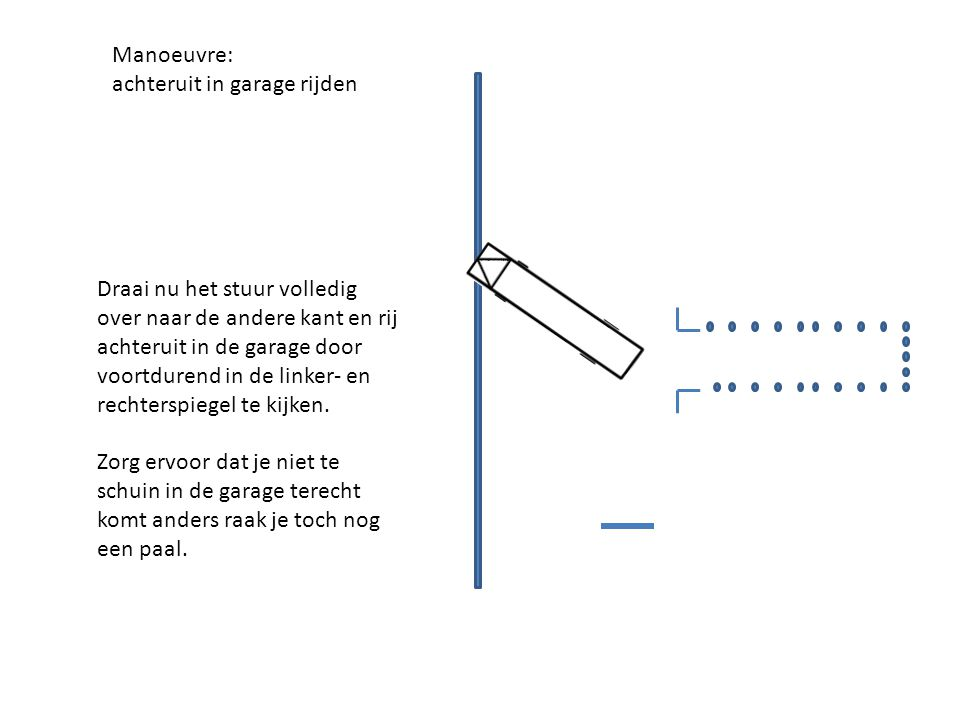 Manoeuvre: achteruit in garage rijden.