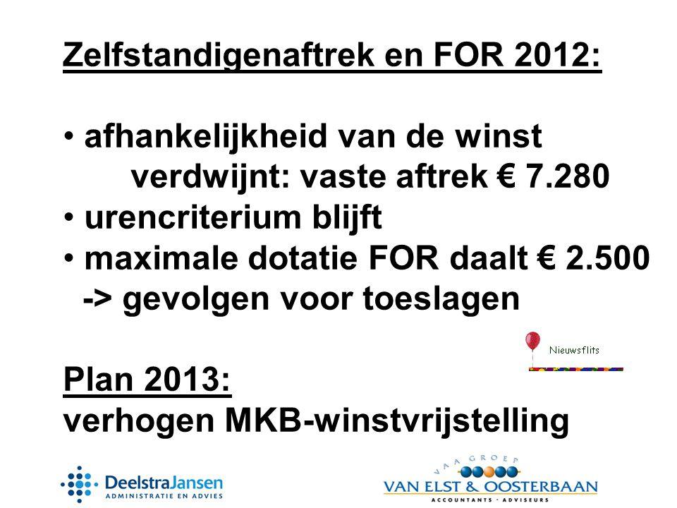 Zelfstandigenaftrek en FOR 2012:
