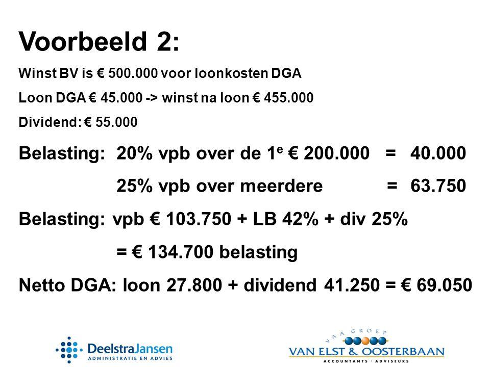 Voorbeeld 2: Belasting: 20% vpb over de 1e € 200.000 = 40.000