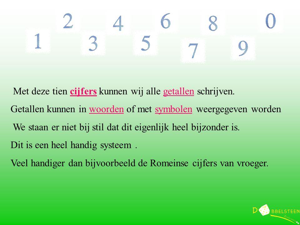 Met deze tien cijfers kunnen wij alle getallen schrijven.