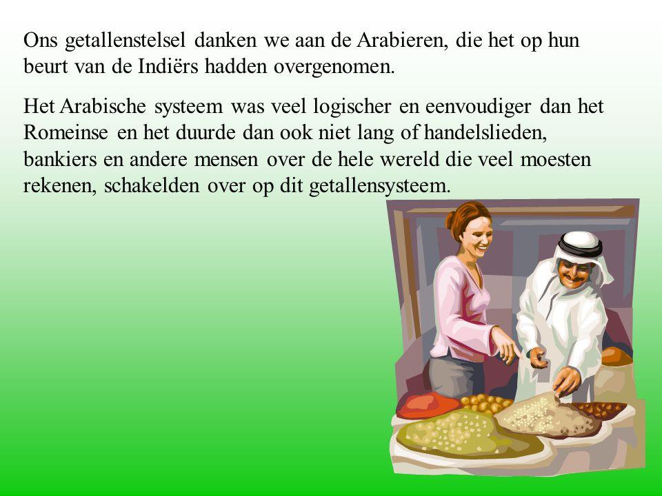 Ons getallenstelsel danken we aan de Arabieren, die het op hun beurt van de Indiërs hadden overgenomen.