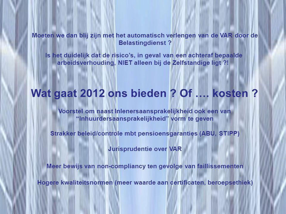 Wat gaat 2012 ons bieden Of …. kosten