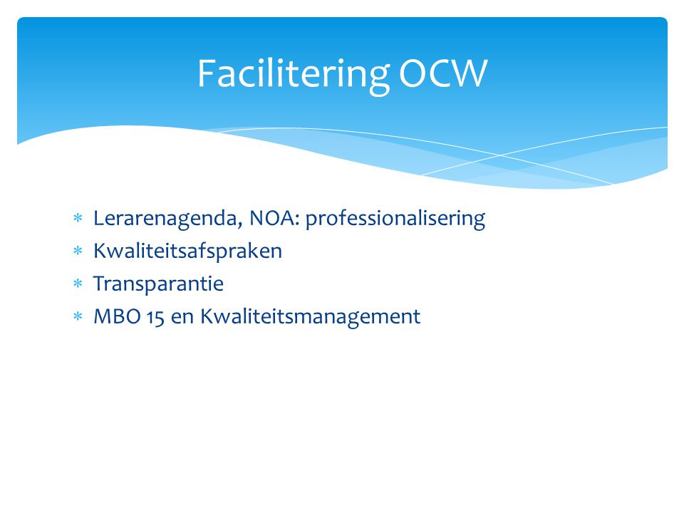 Facilitering OCW Lerarenagenda, NOA: professionalisering
