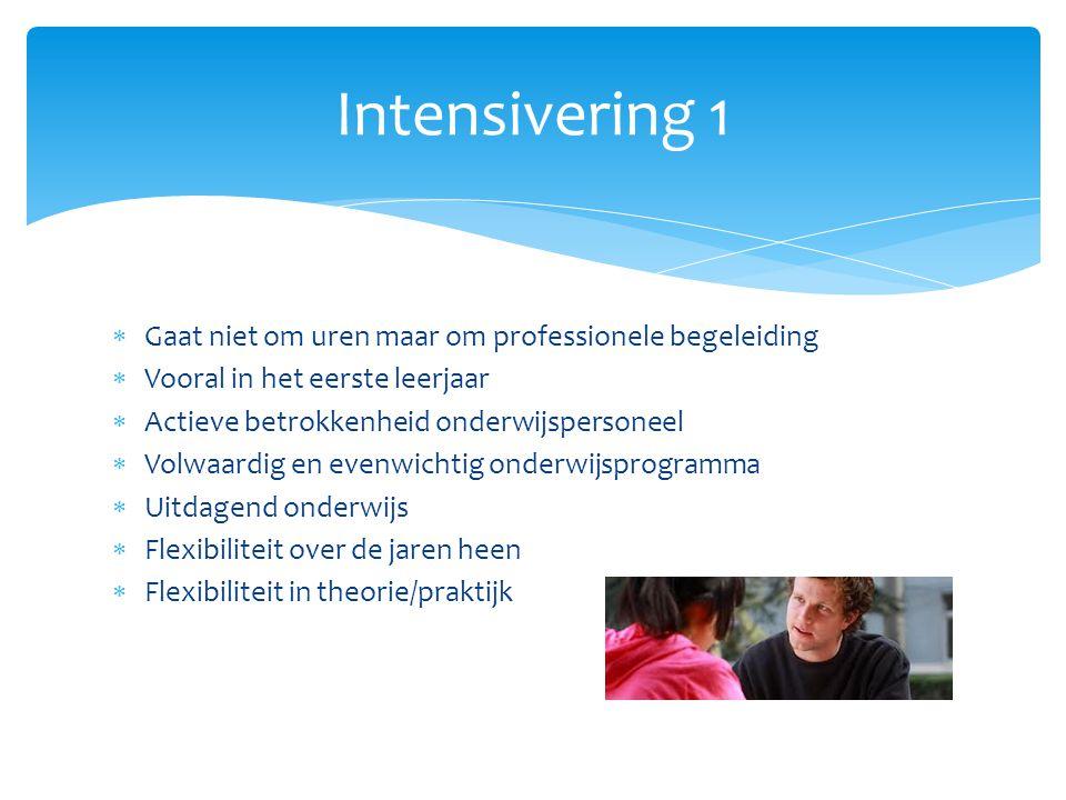 Intensivering 1 Gaat niet om uren maar om professionele begeleiding