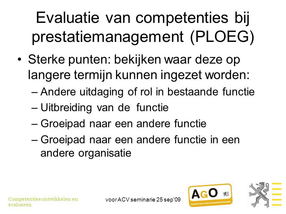 Evaluatie van competenties bij prestatiemanagement (PLOEG)