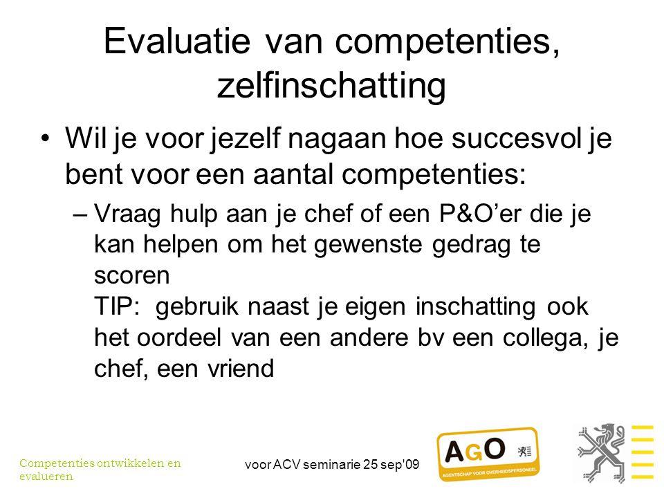 Evaluatie van competenties, zelfinschatting